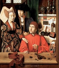 A Goldsmith in His Shop, Possibly Saint Eligius (1449) - by Petrus Christus
