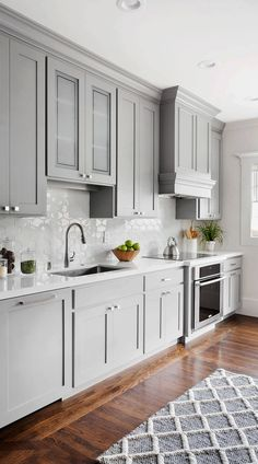 Grey Kitchen Designs, Kitchen Room Design, Modern Kitchen Design, Kitchen Redo, Home Decor Kitchen, Kitchen Interior, Home Kitchens, Kitchen Tile, Kitchen Ideas