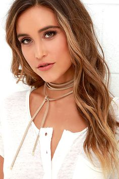 Lulus Exclusive! Wrap it, tie it, wear it any way you want, the Ride or Tie Taupe Wrap Necklace will always be by your side! An extra long…
