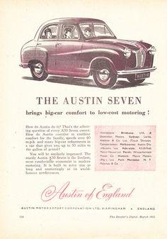 1953 Austin Seven Aussie Original Magazine Advertisement Australian Vintage, Australian Cars, Vintage Ads, Vintage Posters, Austin Cars, Austin Seven, A30, Truck Camper, Motor Company