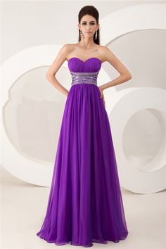 A Line Strapless V Back Long Purple Chiffon Beaded Special Occasion Prom Dress