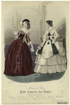 (via Modes de Paris; Petit courrier des dames. 1850   Fashion Plates!)