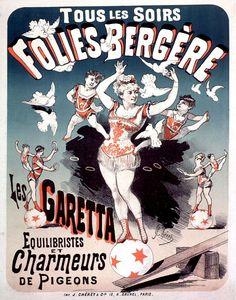 Folies-Bergere Les Garetta by Jules Cheret. Vintage Cabaret