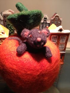 Needle felted mouse in a pumpkin, by Saira Jan from Fibrecraft Mississauga, Ontario Felt Mouse, A Pumpkin, Wet And Dry, Needle Felting, Fiber Art, Ontario, Art Projects, Canada, Christmas Ornaments