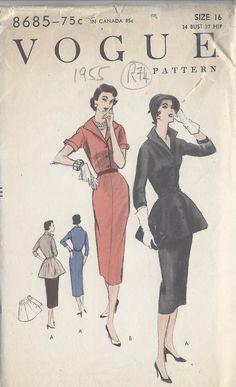 1955 VOGUE Vintage Sewing Pattern B34 DRESS & PEPLUM