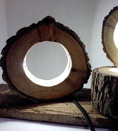 reclaimed log circle light