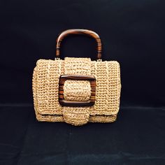 Raffia, Straw Handbag With Wood Handle and Buckle Decoration, Metal Feet, Linen…