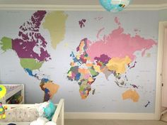 World Map Wallpaper - Spaces - London - Wallpapered World Map Wallpaper, Wallpaper Space, Kids Bedroom, Kids Rooms, Bedroom Ideas, World Map Design, Shared Bedrooms, Neutral Palette, Reading Nook