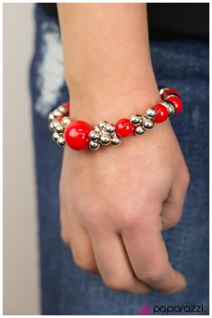 red beads silver accents bracelet $5