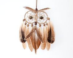 Owl Dream Catcher, handmade, brown owl with feathers, wooden beads, unique design