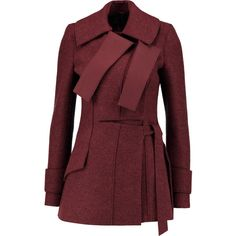 Proenza Schouler Brushed wool coat (3,760 ILS) ❤ liked on Polyvore featuring outerwear, coats, jackets, coats & jackets, casacos, burgundy, wool coat, slim fit coat, red wool coat and slim fit wool coat