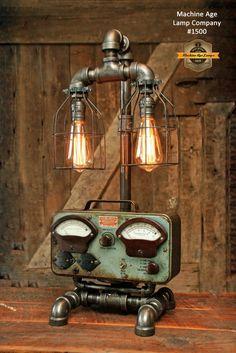 Steampunk Industrial Volt Meter Lamp, Sun / Chicago - #1500