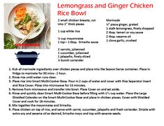 Tupperware Smart Multi Cooker Recipes Lemongrass & Chicken Rice Bowl