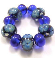 EDJ  Shining Blue Flowers Handmade Glass Lampwork by EDJlampwork, $25.00