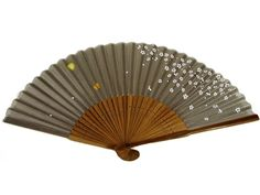 Japanese Design Silk Handheld Folding Fan, Gray and White Petals and Gold Betterly