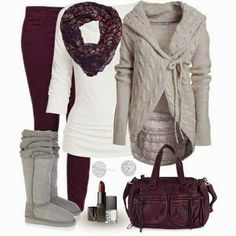 Beige Sweater Cardigan with Ugg Boots, Burgundy Circle Scarf, Trousers and Handbag, Street Style World of Women Fashion