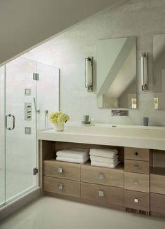 Warm and stylish beach house bathroom along the Massachusetts coast.