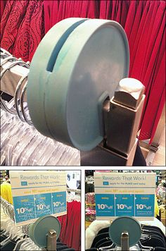 A molded block of flexible material makes a simple-design Rubber Saddle-Mount Circular Sign Holder holder for faceout or rack top. An acrylic sign frame mounts via the slot along the top Visual Merchandising, Simple Designs, Signage, Pos, Projects, Retail, Store, Simple Drawings, Log Projects