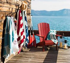 "Love the board ""wall"" at the end of the dock for hanging towels!"
