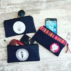 Idee cadeau : porte-monnaie petite pochette trousse à maquillage housse téléphone en jean denim chouette, petite fille ou ourson