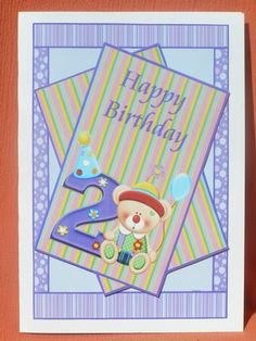 Happy 2nd Birthday Bear Card Front on Craftsuprint designed by Rhonda Brittain - made by Susan Smith - With this design i first printed it out onto glossy photo paper, then after cutting out all the elements, i placed the main design base onto the front of a white C5 card, i then made up the design, this i did using 2mm sticky pads, this is a terrific, bright design to wish a 2 year old a happy birthday, was very easy to cut and make up and is stunning once done. - Now available for…