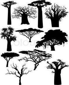 Grafiken von 'Illustration der verschiedenen afrikanischen Bäumen und Sträuchern' on Colourbox