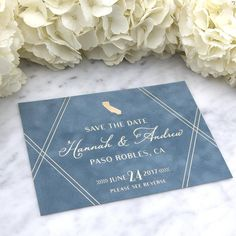 Blue Suede with Foil Printing Save the Date