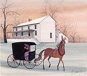"""""""Stage Coach Stop"""" by P Buckley Moss @ Canada Goose Gallery. Issued 1994. Image Size: 11-1/8 x 12-13/16 ins.  Rare Print: $85."""