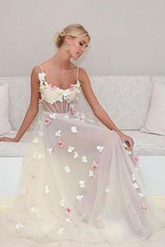 A-Line Prom Dresses, Ivory Prom Dresses, Modest Prom Dresses Prom Dresses 2019 Ivory Prom Dresses, Straps Prom Dresses, A Line Prom Dresses, Beautiful Prom Dresses, Tulle Prom Dress, Flower Dresses, Evening Dresses, Party Dresses, Wedding Dresses