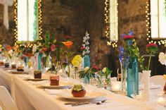 Super simple bright and cheerful wedding table decor