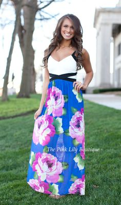 The Pink Lily Boutique - A Tropical Getaway Floral Maxi Blue CLEARANCE!!, $42.00 (http://thepinklilyboutique.com/a-tropical-getaway-floral-maxi-blue-clearance/)