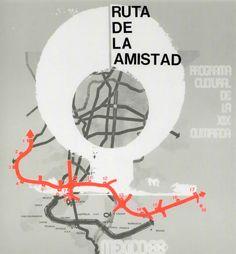 Cartel del de difusión de la Ruta de Amistad. Programa cultural de la XIX Olimpiada Poster about the Route of Friednship, Cultural program of the XIX Olympiad, Summer 1968 Mexico City