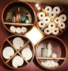 Whiskey barrel shelves