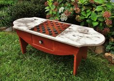 Would love to have a large truck repainted w/ checkerboard/chess board!!  Barnwood checkerboard table from Furniture From The Barn