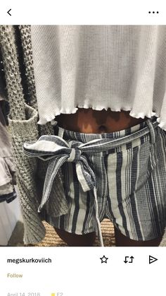 Pinterest: @Beachbeauty18 Gray, black, white striped tie waist shorts with loose lettuce hem white tee and gray cardigan.
