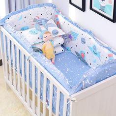 Bright Promotion 4bumpers+sheet 5pcs Children Bedding Set Piece Crib Bumper Crib For Baby,