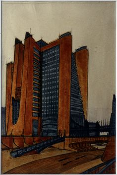 Antonio Sant'Elia, La città nuova. Casa a gradinata con ascensori esterni, 1914. Milano, collezione privata