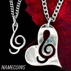 Treble Clef Heart Necklace Couples music jewelry by NameCoins