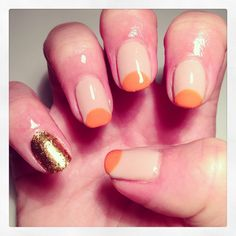 Nude, orange and gold nails