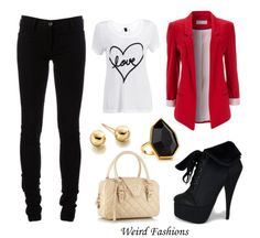 outfits with red tops | Requested: Red Blazer OutfitLinks: Top, Blazer, Pants, Booties, Bag ...