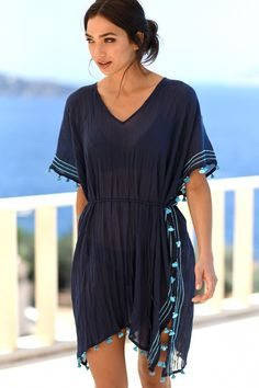 Beach kaftans and designer beach cover ups by seafolly and many Cool Outfits, Summer Outfits, Beach Outfits, Swimsuit Cover Up Dress, Swimsuit For Body Type, Beach Kaftan, Beach Cover Ups, Caftan Dress, Seafolly