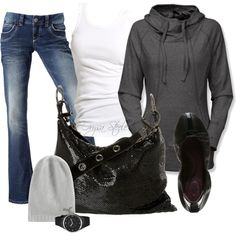 Fashionista Trends. Fall - Winter casual outfit. Grey and Sparkle.