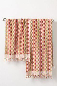 "Candy dot towels  Spun sugar soft Turkish cotton  Hand: 39"" x 20""w  Bath: 59"" x 36""w  $38.00-$88.00"