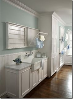 floor and hanging racks Laundry Room Drying Rack, Laundry Room Storage, Laundry Room Design, Laundry In Bathroom, Laundry Rack, Small Laundry, Narrow Bathroom, Laundry Closet, Basement Laundry