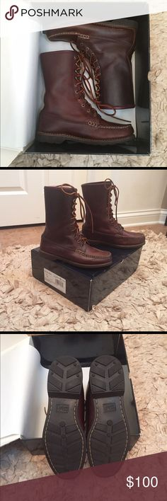 RARE, CLASSIC RALPH LAUREN POLO SPORT BOOTS DEEP BROWN LEATHER, LEATHER LACES, WOMEN'S US SIZE 8  NWT - NEVER WORN - IN ORIGINAL PACKAGING/BOX Polo by Ralph Lauren Shoes Lace Up Boots