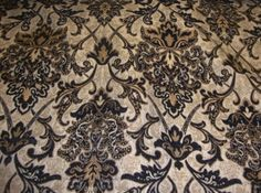 """Black Damask Chenille Upholstery Drapery Fabric by The Yard 57"""" Wide 