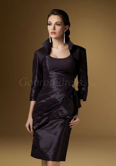 knee-length scoop neck Column taffeta Mother of the Bride Dress picture 1