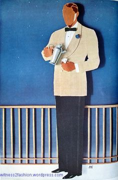 An off-white, double-breasted dinner jacket worn with tuxedo trousers. Esquire, July 1934.