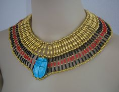 Amazing Egyptian Hand Made crafted Beaded Queen Cleopatra Necklace Halloween
