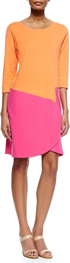 Joan Vass 3/4-Sleeve Colorblock Dress, Fuchsia/Coral, Petite on shopstyle.com